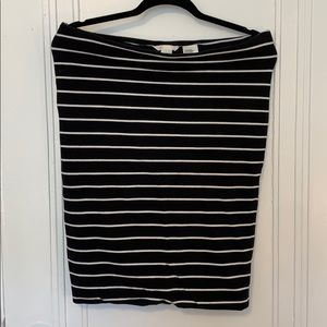 H&M Black and White Striped Pencil Skirt